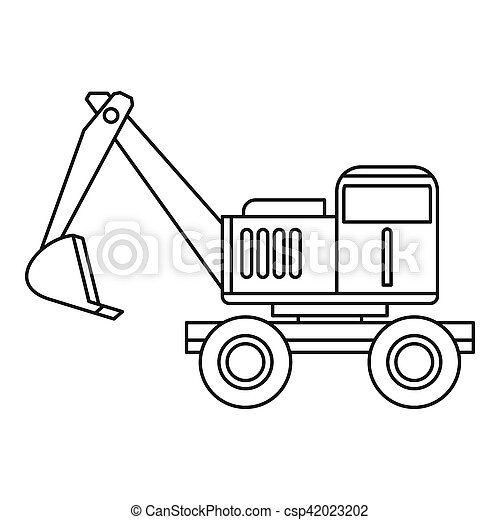 Excavator Icon Outline Style