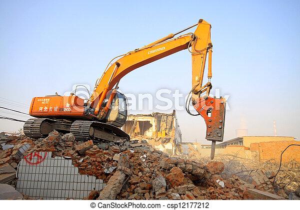 excavator in the construction debris clean up site - csp12177212