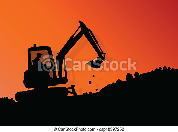 Excavator loader hydraulic machine tractor and workers digging at industrial construction site vector background illustration - csp18397252