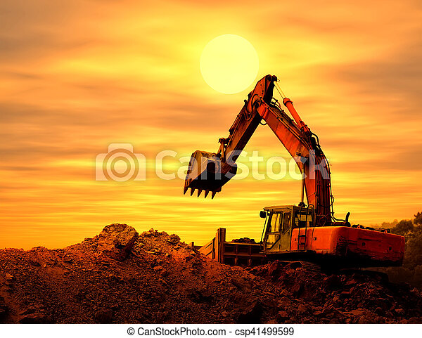 excavator loader machine during earthmoving works outdoors - csp41499599