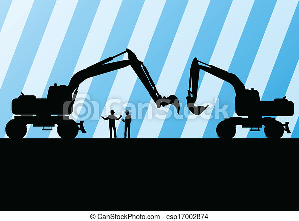Excavator tractors detailed silhouettes illustration in construction site mining background vector - csp17002874