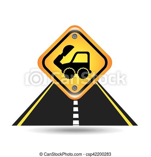 excavator truck yellow road street sign - csp42200283