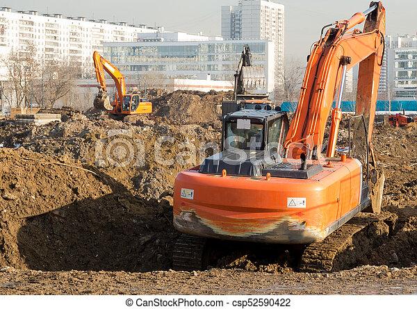 Excavators working - csp52590422