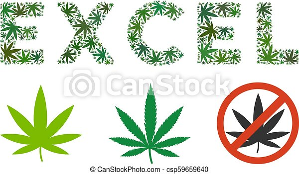 Excel Text Composition Of Hemp Leaves Excel Text Collage Of Hemp