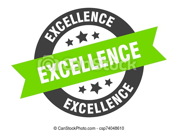 excellence sign. excellence black-green round ribbon sticker - csp74048610