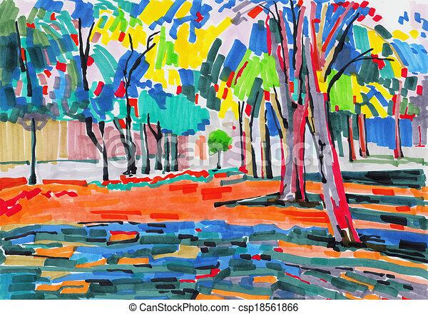 Pintura original inusual del paisaje del árbol - csp18561866