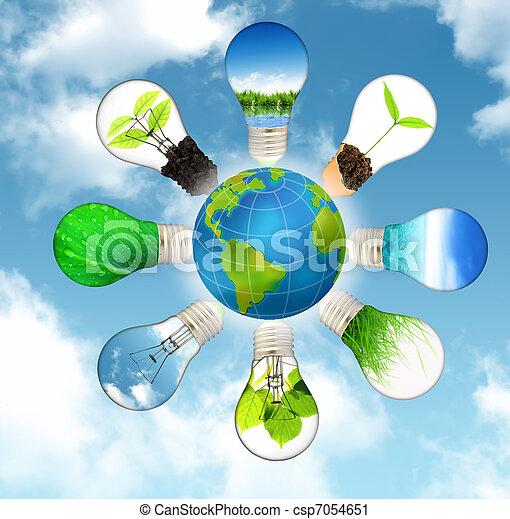 Concepto de energía verde, salva el planeta verde - csp7054651
