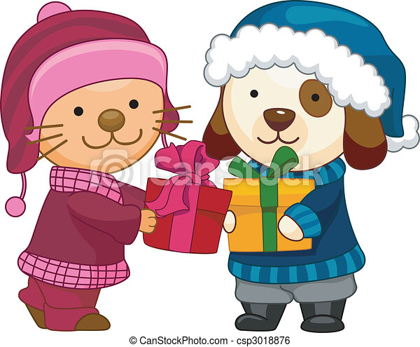 Gift exchange cartoon illustration of a gift exchange cat and dog exchange gifts negle Images