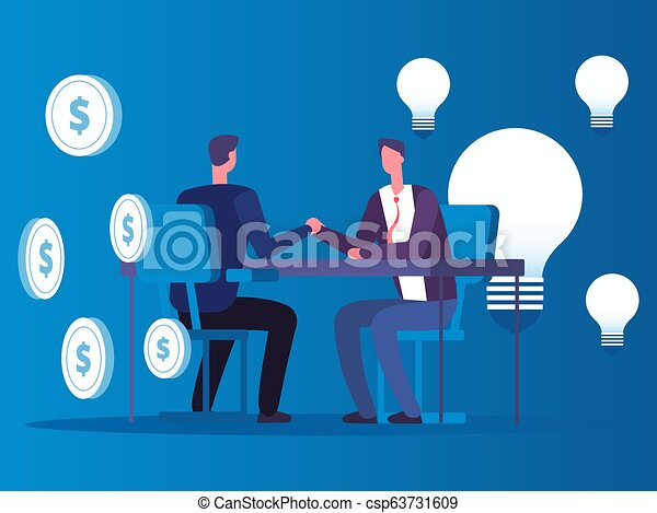Exchange of ideas for money, businessman buys ideas vector concept - csp63731609