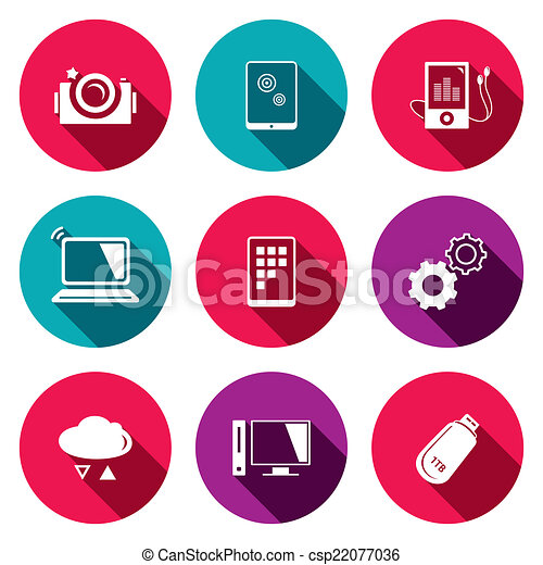 exchange of information technology flat icons set technology icon