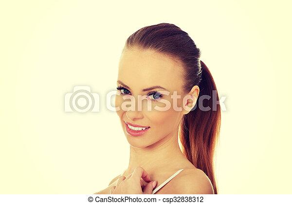 excitado, mulher, bra. - csp32838312
