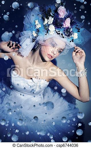 excitado, mulher, chapéu - csp6744036