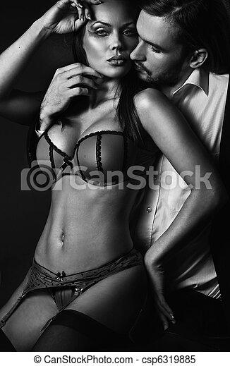 excitado, mulher, despindo, atraente, homem - csp6319885