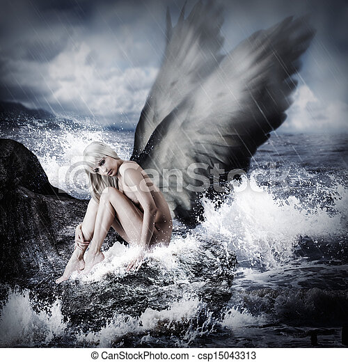 excitado, mulher, loura, asas anjo - csp15043313