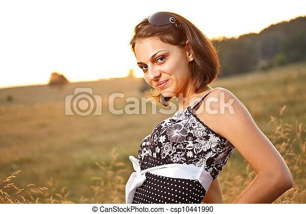 excitado, mulher, posar - csp10441990