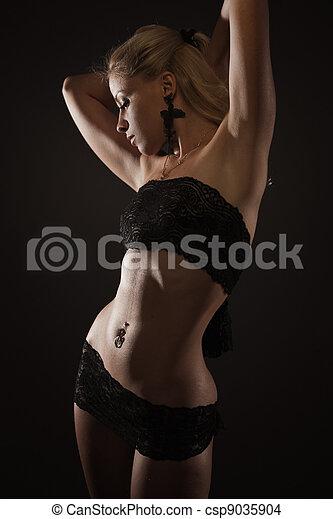 excitado, mulher, renda, langerie - csp9035904