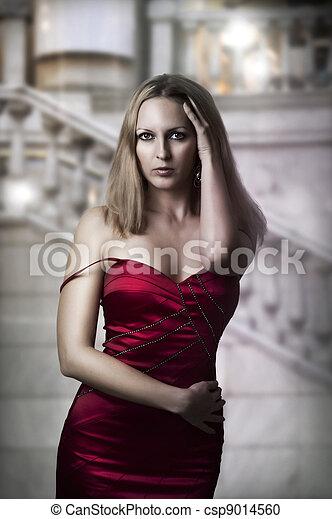excitado, mulher, vestido, luxo, vermelho - csp9014560