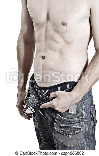 excitado, torso nude, homem - csp4286862