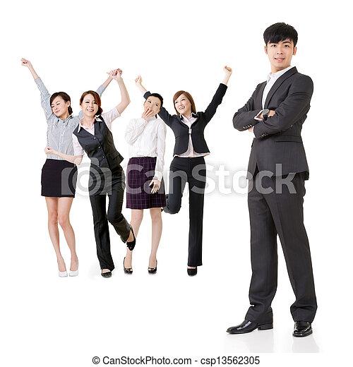 Excited business team - csp13562305