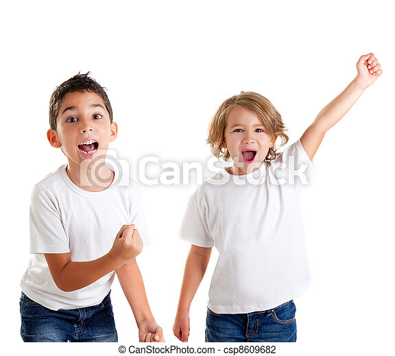 excited children kids happy screaming and winner gesture - csp8609682