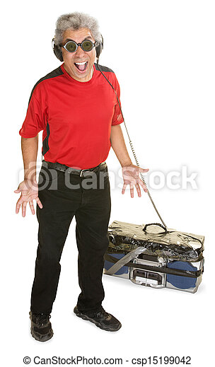 Excited Man with Old Radio - csp15199042