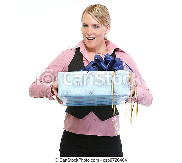 Excited woman with present box - csp9726404