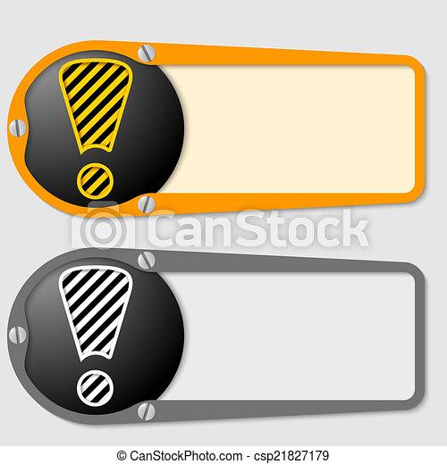 Dos cajas para cualquier mensaje con signo de exclamación - csp21827179