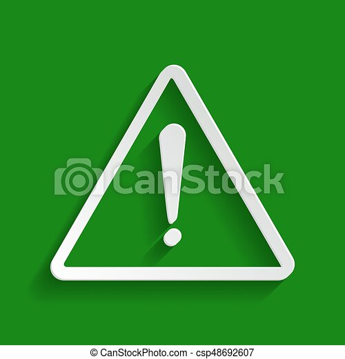 Exclamation danger sign. Flat style. Vector. Paper whitish icon with soft shadow on green background. - csp48692607