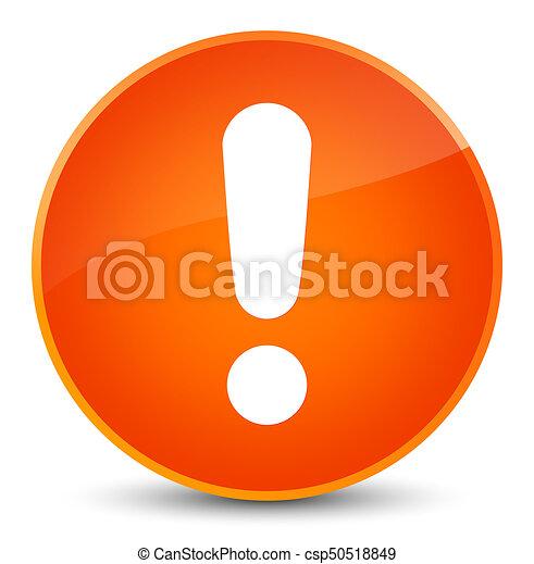 Exclamation mark icon elegant orange round button - csp50518849