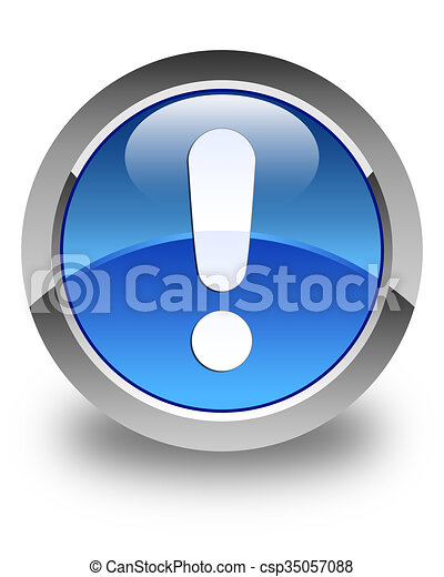 Exclamation mark icon glossy blue round button - csp35057088