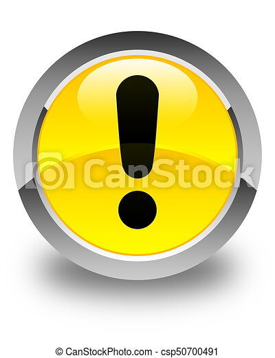 Exclamation mark icon glossy yellow round button - csp50700491