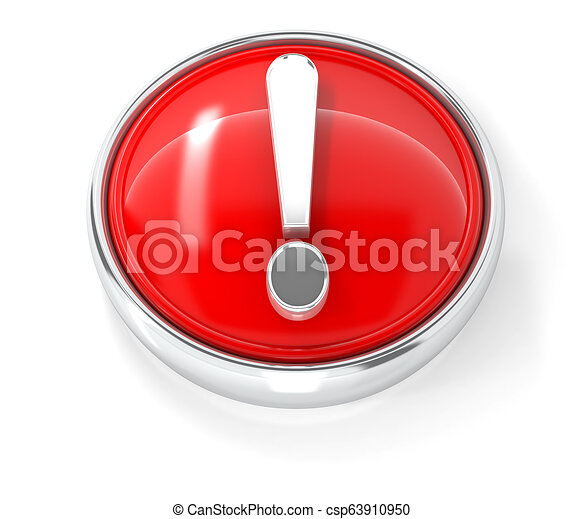 Exclamation mark icon on glossy red round button - csp63910950