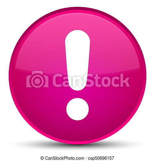 Exclamation mark icon special pink round button - csp50696157