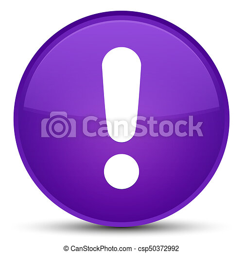 Exclamation mark icon special purple round button - csp50372992