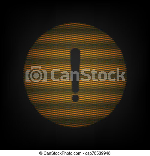 Exclamation mark sign. Icon as grid of small orange light bulb in darkness. Illustration. - csp78539948