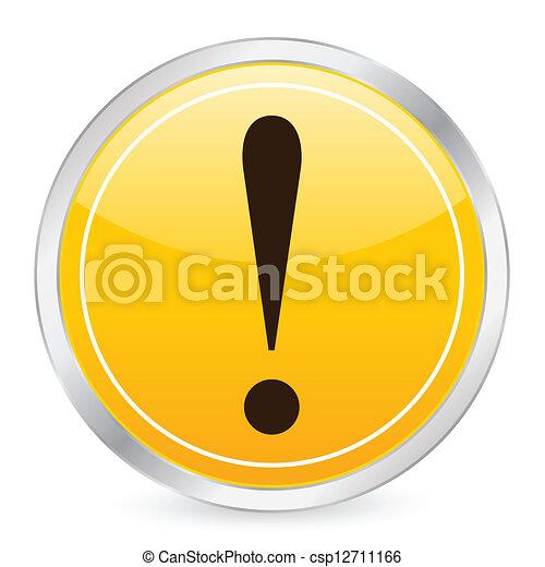exclamation mark yellow circle icon - csp12711166