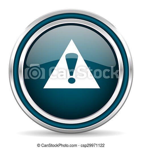 exclamation sign blue glossy web icon - csp29971122