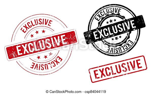 exclusive label. exclusive green band sign. exclusive. exclusive round ribbon stamp - csp84044119
