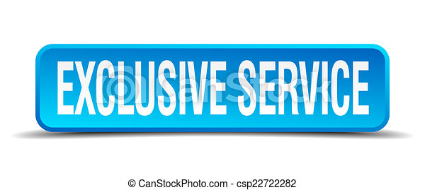 exclusive service blue 3d realistic square isolated button - csp22722282