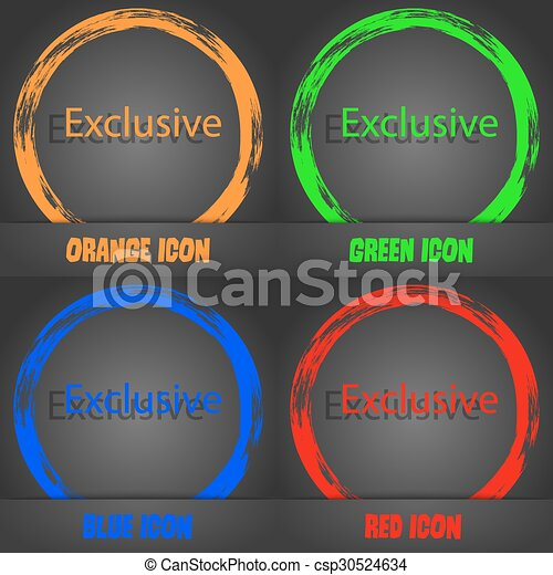 Exclusive sign icon. Special offer symbol. Fashionable modern style. In the orange, green, blue, red design. Vector - csp30524634