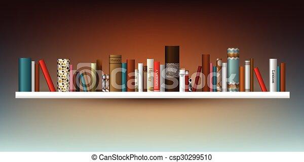 Excepcional estante de libros. Ilustración. En una librería. - csp30299510