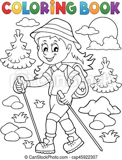 Excursionista, mujer, 1, tema, libro colorear. Excursionista, mujer ...