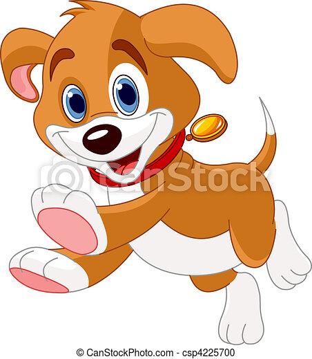 executando, engraçado, filhote cachorro - csp4225700