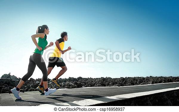 executando, esporte ao ar livre, pessoas - csp16958937