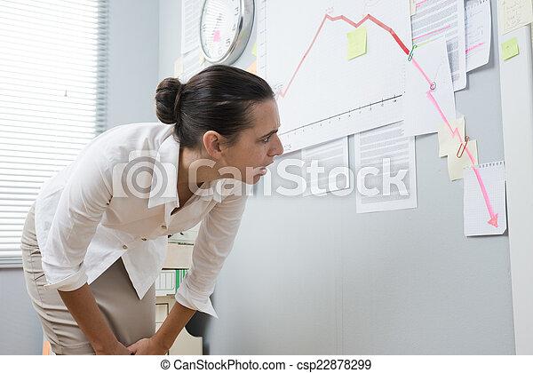 executiva, analisando, negativo, negócio, mapa - csp22878299