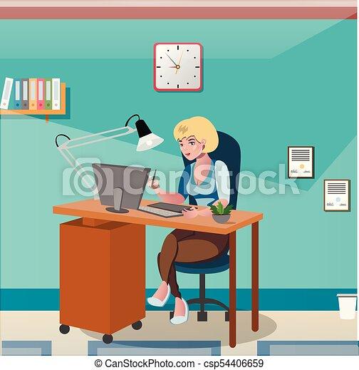 executiva, escrivaninha, computador, trabalhando, sentando - csp54406659