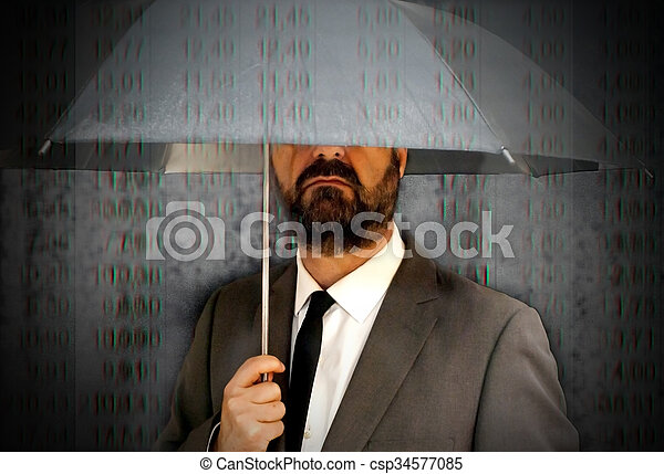Executive man with umbrella covering himself of a rain of red number - csp34577085