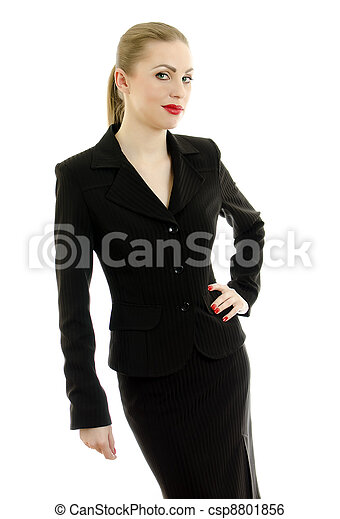 Executive woman in black suit. Isolated on white. - csp8801856