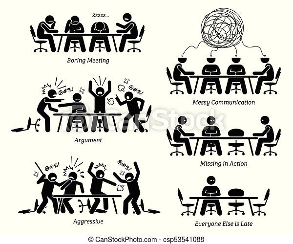 Executives having ineffective and inefficient meeting and discussion. - csp53541088