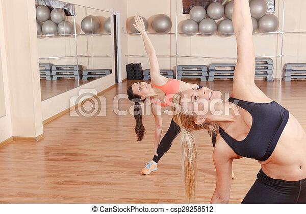 exercícios, ginásio, esticar, amigos, dois - csp29258512